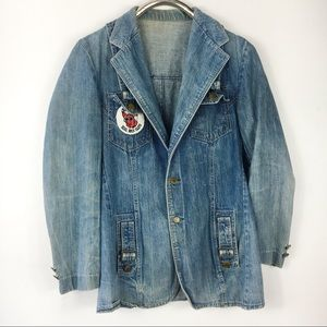 Vintage Denim Jacket KSHE 95 Rock Suspender Snaps